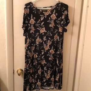Dark grey floral dress with open back
